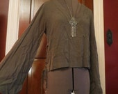 SALE Army Green Flare Bell Sleeves Bohemian Gypsy Peasant Blouse Small
