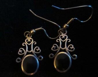 ON SALE Vintage Sterling Silver Black Onyx Earrings Dangle Gothic