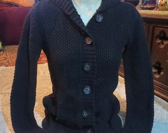 ON SALE Ladies Black Hooded Sweater Button Front Hoodie Cardigan Small