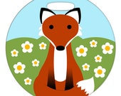 Luggage Tag - Red Fox in a Field of Daisies - 2.5 inch or 4 Inch Round Plastic Bag Tag