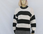 vintage 80s OVERSIZED SWEATER | black and white stripes | M L