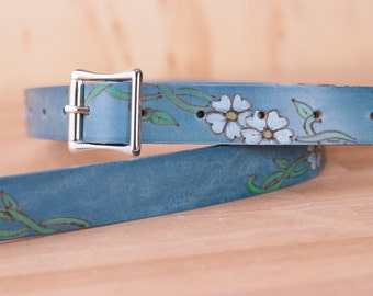 Mandolin Strap - Leather with Flowers in Blue and White - Handmade in the Willow Pattern