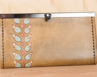 Leather Checkbook Wallet - Ladies Clutch Wallet - Petal pattern with flowers and leaves - Handmade in sage, pink and antique brown