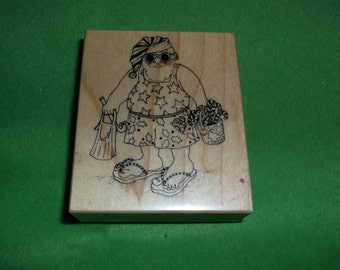 Santa in Swimsuit at the Beach Rubber Stamp