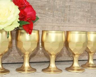 Gold wedding vase,  6 gold dipped vintage vases, table decorations, tall vase, stemmed pedestal vase, fall wedding decor