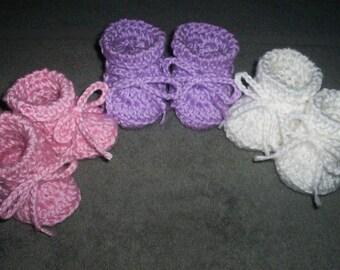Baby Girl Booties crocheted 3 pair newborn pink white lavender