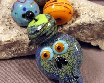 Handmade Lampwork Bead Set by Monaslampwork - Halloween Fun - Handmade Lampwork by Mona Sullivan Boho Organic Sugar Skull Enamels Spooky