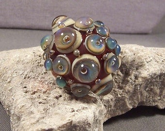 Handmade Lampwork Focal Bead by Monaslampwork - Iridescent Bubbles - Precision dots Handmade by Mona Sullivan Opals on Ivory Boho Organic