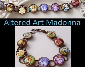 Madonna  bracelet...ready to ship with gift box , Madonna, Mary, Catholic jewelry, Madonna and Child, altered art jewelry, religious jewelry