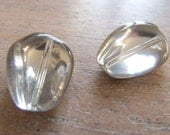Vintage German Early to Mid 1900s Silver Foiled Back Teardrop Glass Beads - 16mmx12mm - Perfect Earring Pair