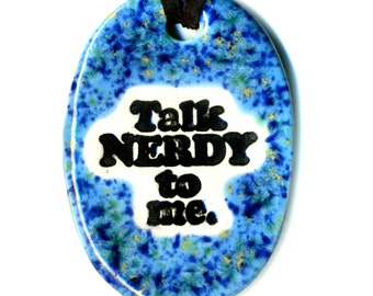 Talk Nerdy to Me Ceramic Necklace in Bright Speckled Blue