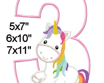 Fairy Tale Unicorn Birthday 3 Machine Embroidery Applique Pattern 5x7 6x10 7x11 INSTANT DOWNLOAD