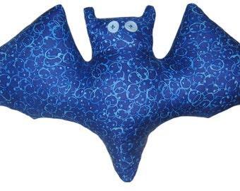 Blue Bubble Bat Pillow