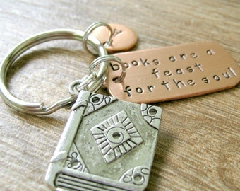 Books Are A Feast for the Soul Keychain with book charm, great gift for the avid reader, optional initial disc, see pics for example