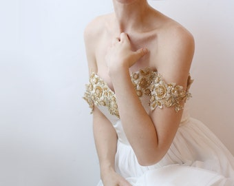 Sample Sale - brand new gold beaded Lace and ivory silk Wedding Dress