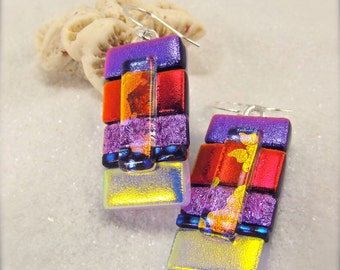 Statement earrings, dichroic earrings, dichroic, artisan jewelry, striped earrings, handmade, hana sakura fused glass jewelry, glass fusion