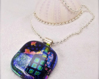 Statement pendant, dichroic glass pendant, glass fusion,mod necklace,rainbow jewelry,rainbow necklace,handmade, artistic designs,fused glass