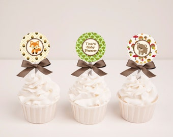 Printable Woodland Animals Baby Shower Cupcake Toppers
