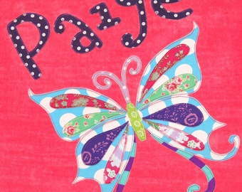 Personalized Large Pink Velour Beach Towel with Beautiful Butterfly, Pool Towel,Kids Bath Towel,Personalized Towel,Baby Towel,Butterfly Gift