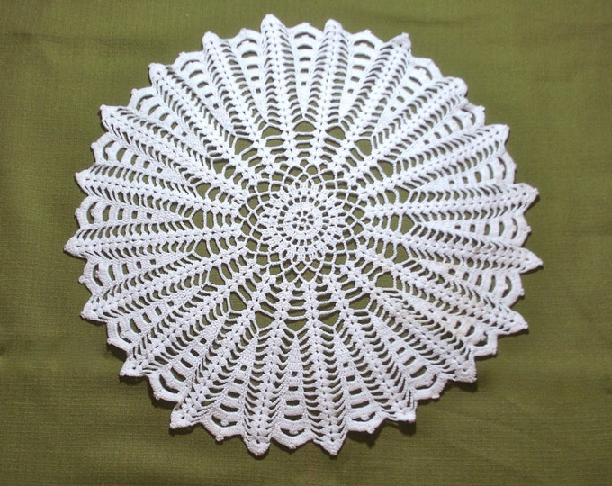 Vintage Large Crocheted Lace Doily 16 inch