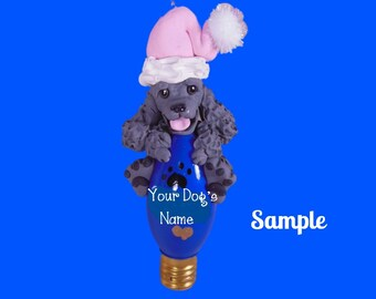 Silver / Grey Poodle Santa Dog Christmas Holidays Light Bulb Ornament Sally's Bits of Clay PERSONALIZED FREE with dog's name