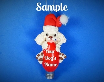 White Poodle Santa Dog Christmas Holidays Light Bulb Ornament Sally's Bits of Clay PERSONALIZED FREE with dog's name