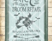 Halloween Cut File -  Witch SVG Cutting File - Aunt Hilda's Broom Repair - Digital svg, dfx, png and jpg files available