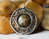 SOLDES collier nid - Unique Simple ancien pendentif en argent avec Agate Inde - coloré, la Nature a inspiré, naturels, biologiques, Bohème