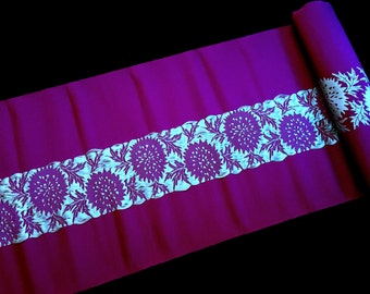 Vintage Japanese Obi Fabric - Vintage Brocade - Purple Silver Blue  Fabric - Vintage Obi Material -   11.6 inches x 1 Yard  (29.5 cm x 1 M)