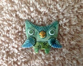 Turquoise Owl Brooch