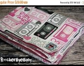WINTER SALE RockerByeBasics Baby or Toddler Blanket white pink Casette Mix Tape Love 36x42 receiving blanket