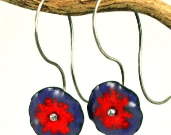 Ruffled Purple and Red colorful dangle Earring Copper Enamel