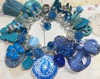 Blue is my Color, Trinkets, Charm bracelet, altered art, handmade, jewelry , bostoncharm