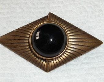 Jan Michaels Brooch Black Shiny Real Onyx Stone on Antique Brass,Singed 90's Designer Pin ,Good Condition