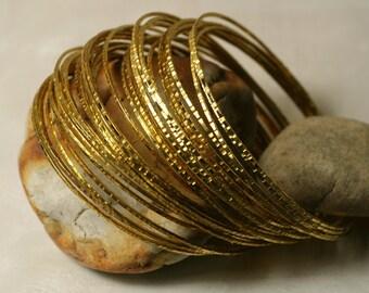 Stacking Bangle Bracelets, Gold Plated Bangles, Handmade Bangles Hammered Bangles, 2 pcs (item ID GPBT65)