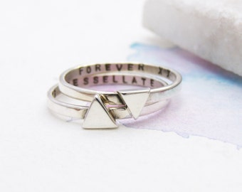 Personalised Triangle Stacking Rings | Geometric Rings | Contemporary Stacking Rings | Mantra Jewellery | Silver Triangle Ring