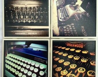 Photo Coasters - Vintage Typewriters - Set of 4