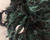 Icelandic mix mint green wool handspun bulky weight single ply 94 yards permaculture iowa farm rare breed organic