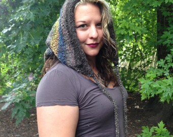 Handspun hand dyed huge long faerie hat with pom