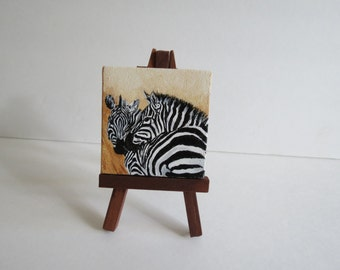 Zebra Original Oil Painting Hand Painted 2.5 in x 2.5 in with Free Easel Made to Order by Pigatopia
