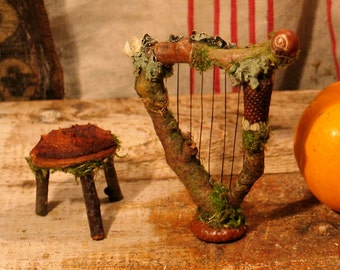 Faery Harp and Three Legged Stool Miniature Dollhouse Fairy Gardens Custom Order