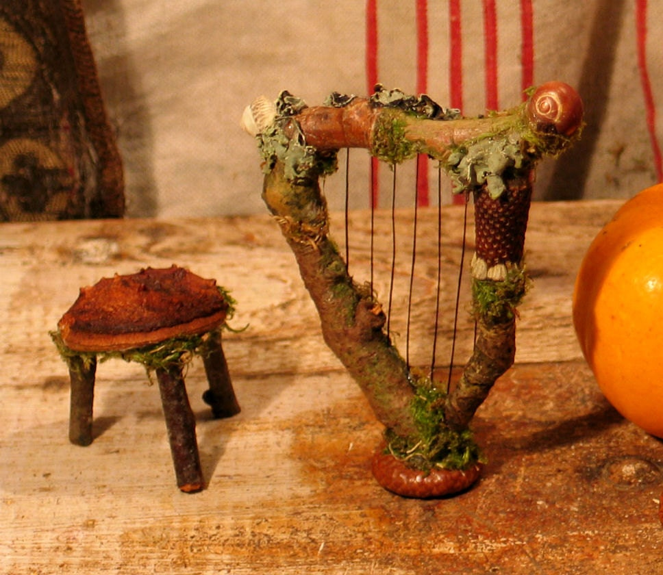 Faery Harp And Three Legged Stool Miniature Dollhouse Fairy