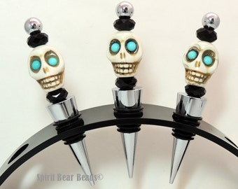 Turquoise Skull Wine stopper Black Beads  Dia De Muertos Day of the Dead Goth Gift