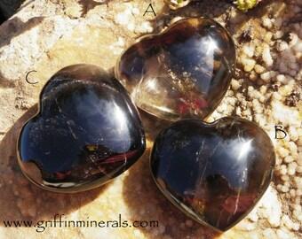 "Large Smokey Quartz Heart Natural Gemstone Heart - Choose one - 3.25"" 300gm"