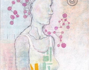 Coupling I, original drawing, mixed media figure art