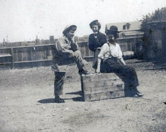 vintage photo 1908 Women Cross Dress Men's Clothes Back Yard Los Angeles California