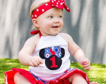Girl Minnie Mouse Halter Outfit Top Set Shorts Capri Pants Summer Birthday Clothing Size 3m 6m 9m 9 12 18 24 month 2 2T 3 3T 4T 4 5T 5 6 7 8