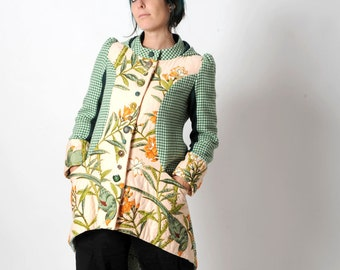 Green hooded coat, womens winter coat, Green and salmon floral patchwork coat with round hood, Womens clothing, Upcycled fashion, MALAM