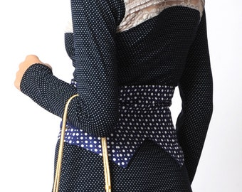 Blue wide belt, Blue wrap belt in vintage cotton with white dots - sz UK small 8