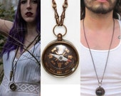 Working Compass Necklace *BULK OPTIONS* Brass compass pendant on brass ox vintage pocket watch chain. Mens jewelry. Travelers talisman  s44